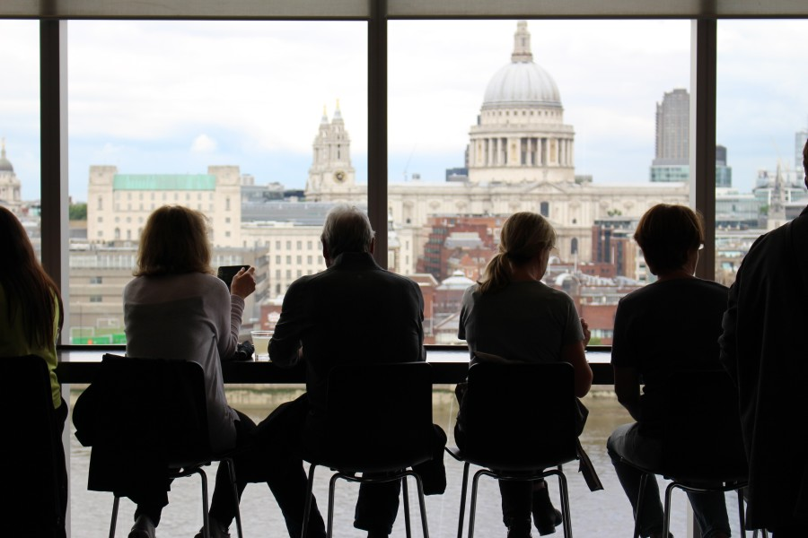 Image of Silhouettes against window out to Saint Pauls