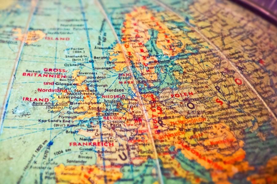 Image of Europe on globe